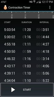 Contraction timer showing durations of over one minute and intervals of about 4 minutes.