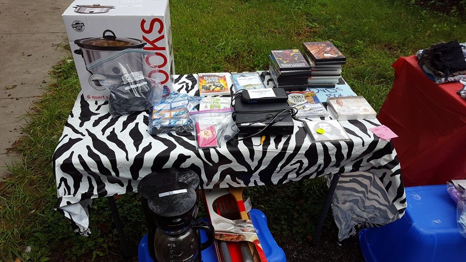 zebra print table cloth with garage sale video games