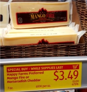 mango fire cheese at Aldi priced at $3.49