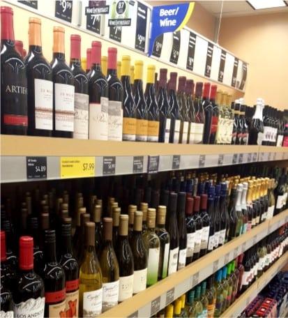 Rows of Aldi wine