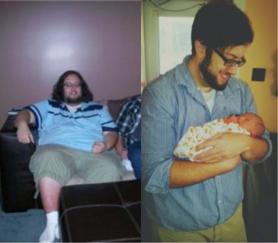 before after picture of a brunette man who went from 400lbs to 250lbs