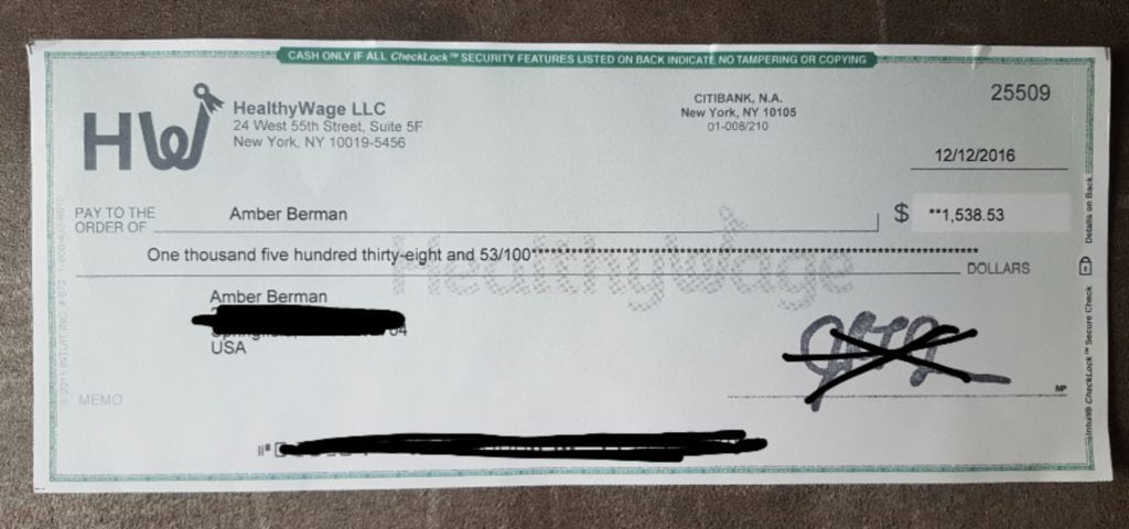 proof of payment check from HealthyWage listing the amount of $1,538.53