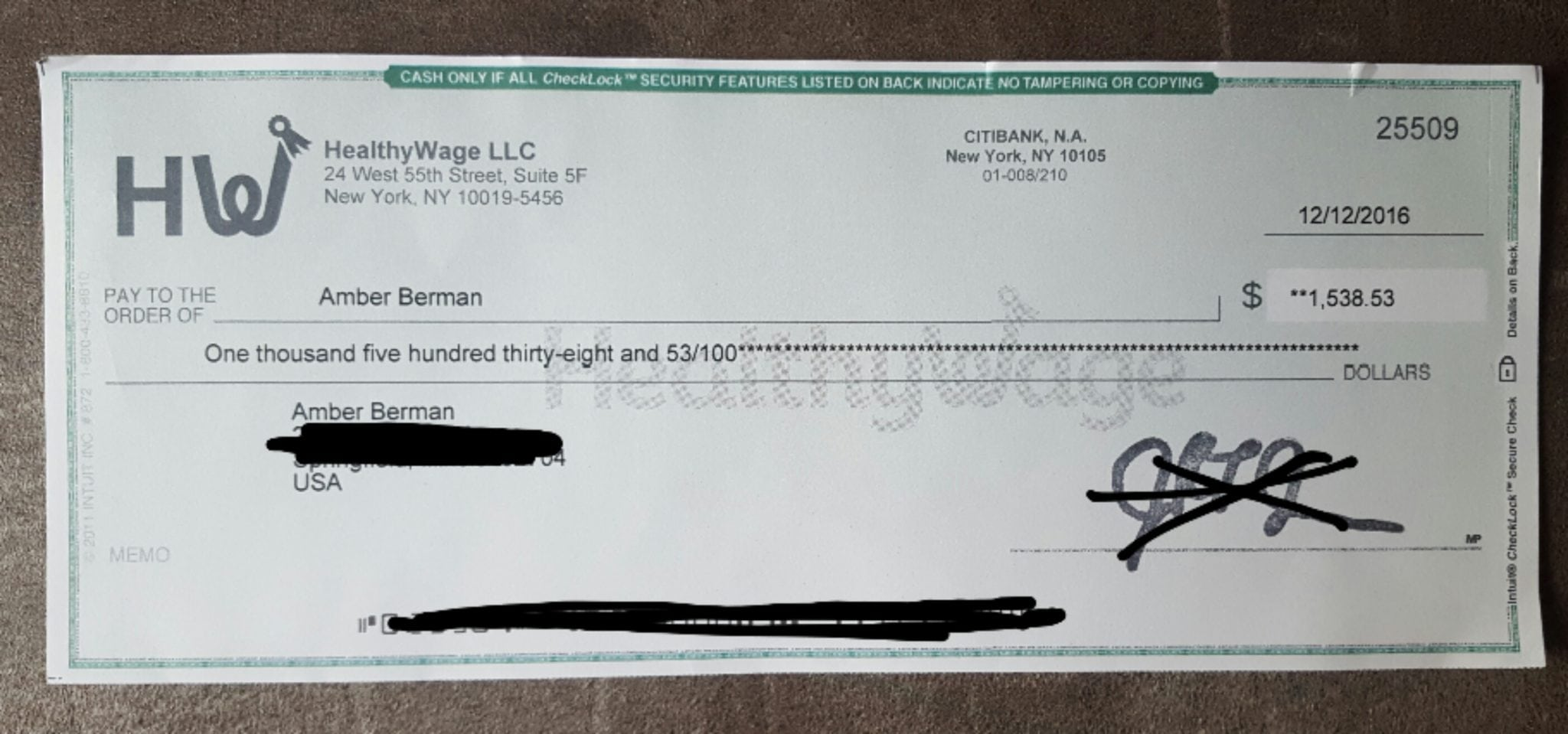 HealthyWage Check proof of payment with the amount of $1,538.53