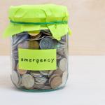 emergency savings jar with green label
