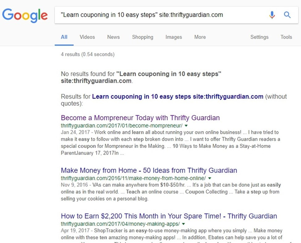 Screenshot of Google showing results of learn couponing in 10 easy steps with Thrifty Guardian