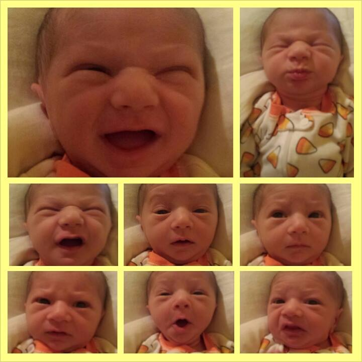 baby boy making silly faces