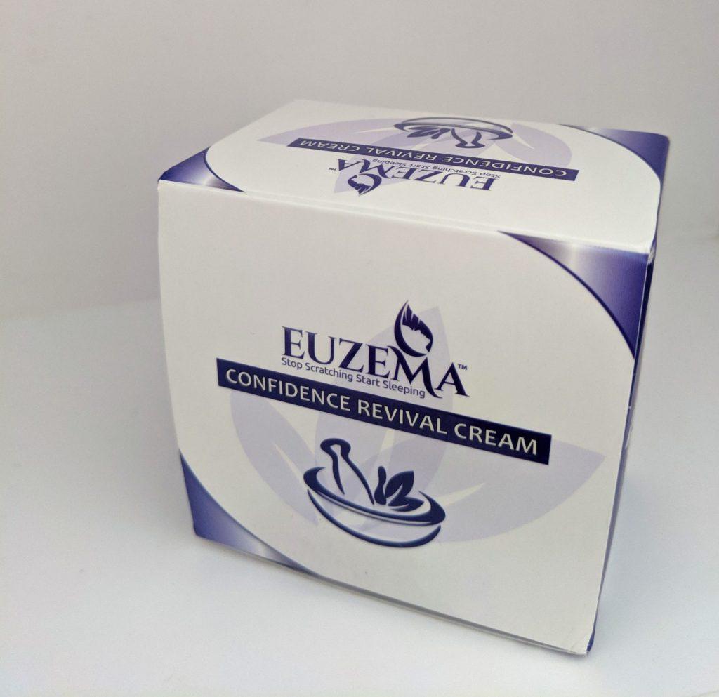 Purple and white box with Euzema written on it