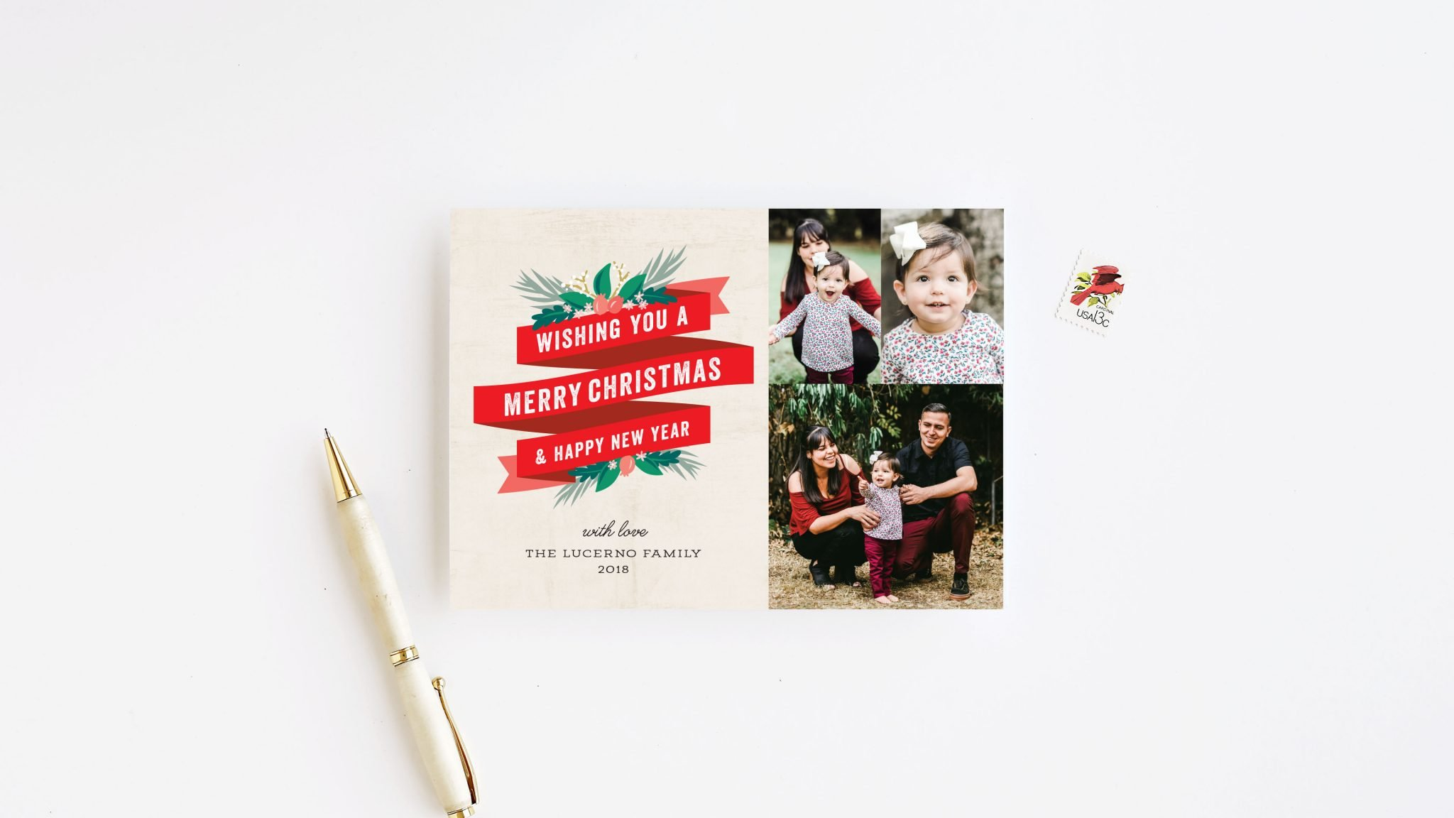 red and green holiday card that says wishing you a Merry Christmas